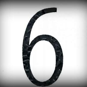 Artikel-Nr. 17-216 Hausnummer 6, elegante Zahl in antikem Design