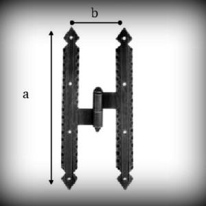 Artikel- Nr. 24-1011 Kreuzband 200×60 mm mit Kegel (links) Schmiedeeisen