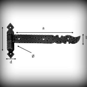Artikel- Nr. 24-5811 Langband 200×20 mm mit Kegel (links) Schmiedeeisen
