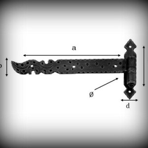 Artikel- Nr. 24-5812 Langband 200×20 mm mit Kegel (rechts) Schmiedeeisen